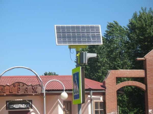 Солнечные батареи на светофоре