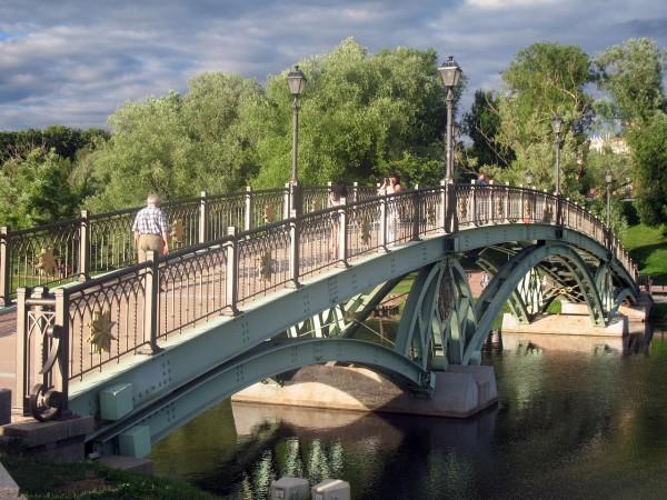 Мост через царицынский пруд. С солнцем