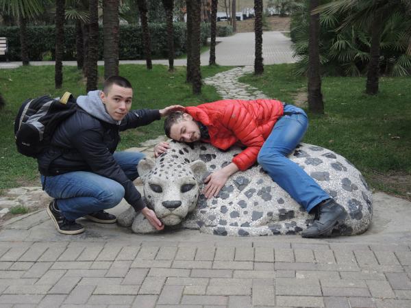 """Скульптура """"Леопард"""" в парке Ривьера"""