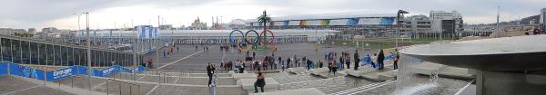 Панорама главного входа в Олимпийский парк в Адлере
