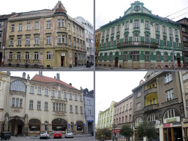 Красивые домики в историческом центре Градец Кралове