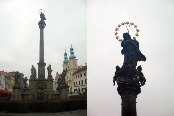 Чумной столб в Градец Кралове на главной площади